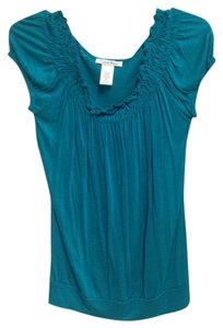 Carol Rose Soft Peasant Top Teal