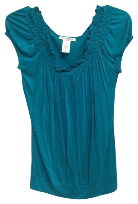 Preload https://img-static.tradesy.com/item/933350/carol-rose-teal-soft-peasant-blouse-size-6-s-0-0-650-650.jpg