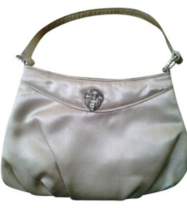 $$$ Satin Rinestone Brouch cream Clutch