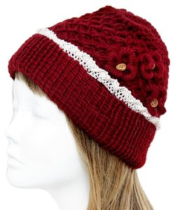 Other Burgundy Red Knitted Lace Trim Buttoned Beanie Winter Hat Cap Head Warmer
