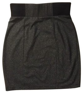 Forever 21 Mini Skirt Silver, black