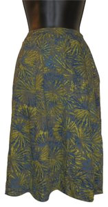 Coldwater Creek Blue Lined Ruffled Skirt Blue, green & yellow