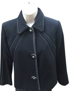 Henri Bendel Black with White contrast stitching and flower buttons Jacket
