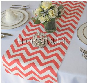 Coral And White Chevrol Zigzag Table Runners Tableware