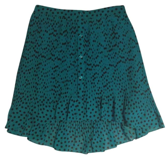BCBGeneration Pleated Polka Dot Elastic Skirt Teal and Black (Aries Combo)