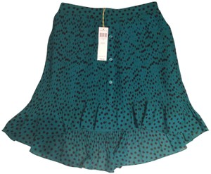 BCBGeneration Pleated Polka Dot Skirt Teal and Black (Aries Combo)