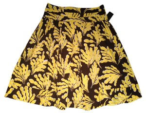 Diane von Furstenberg Cotton Bright Summer Spring Skirt yellow, brown, and white