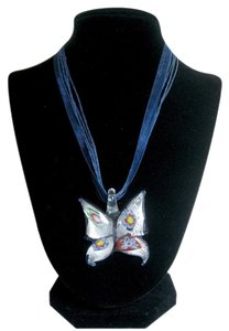 Murano Murano Butterfly Blue and Silver Foil Filigree Pendant on Blue Ribbon Necklace