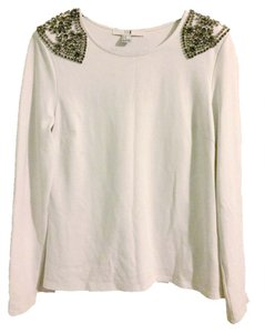 Forever 21 Embellished Shoulder Top white