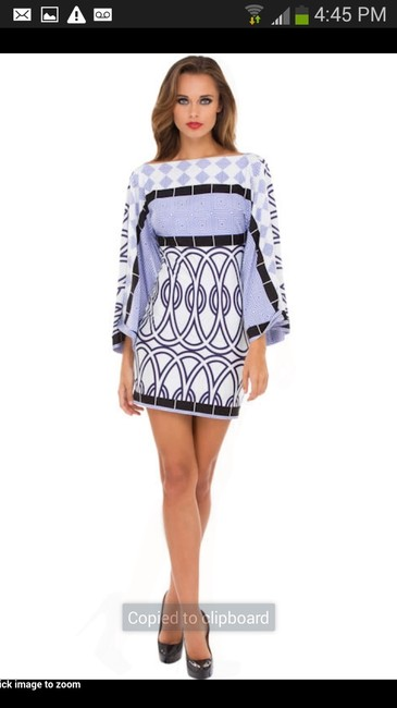Preload https://item5.tradesy.com/images/analili-blue-and-white-sexy-deep-v-mini-night-out-dress-size-8-m-933764-0-0.jpg?width=400&height=650