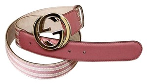 Gucci Gucci Pink Web Canvasleather Belt Interlocking G Buckle 9036