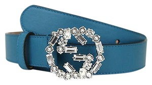 Gucci Gucci Leather Belt Wcrystal Interlocking G Buckle Teal 85/34 354381 4618