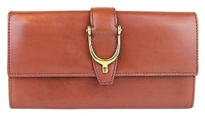 Gucci Gucci Spur Detail Continental Clutch Leather Wallet Brown 277718 6319
