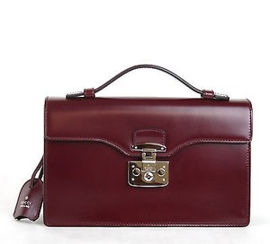 Gucci Leather Lady Lock Briefcase 331823 5227 Burgundy Clutch