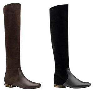 Gucci Leather And Suede Knee Wbamboo Heel 338698 Boots