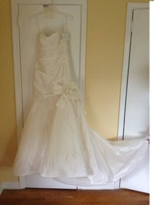 Amsale Rosette Detail Taffeta Mermaid Wedding Dress