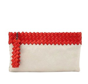 Bottega Veneta Leather Woven Off White/Red Clutch