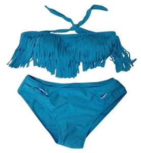 Other Blue Bandeau Tassel Bikini Bathing Suit Set