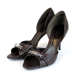 Gucci Leather Open Chocolate Pumps