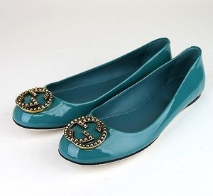 Gucci Patent Leather Ballet Winterlocking G 310711 4408 Turquoise Flats