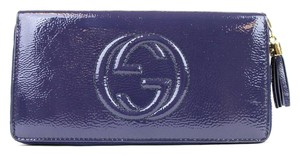 Gucci Gucci Soho Soft Patent Leather Zip Around Clutch Wallet Blue 308004 4233
