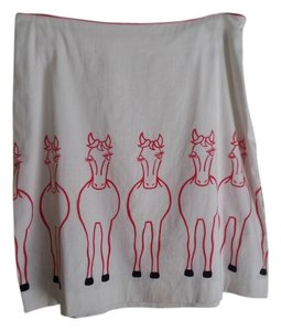 i t w Equestrian Horse Size 8 Skirt Cream with red