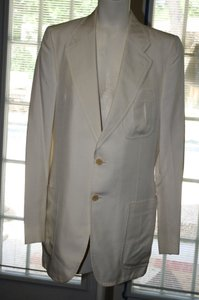 Vintage 100% Silk Vanilla Colored Two Piece Suit