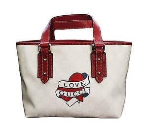 Gucci Heart Tattoo Top Tote in Whites