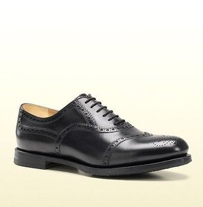 Gucci Mens Brogue Leather Lace-up Oxford Black 322494 1000
