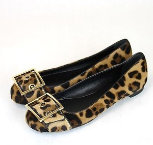 Gucci Leopard Pony Hair Ballet Wgold Buckle 377 326714 8060 Multi-Color Flats
