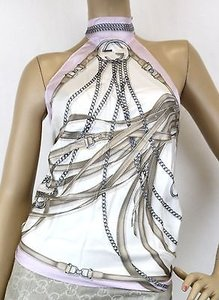 Gucci Silk Scarf Halter Blouse Whorsebit Chain Print Pink 256881 5377 White/Pink Halter Top