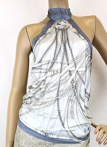 Gucci Silk Scarf Halter Blouse Whorsebit Chain Print Blue 256881 4269 White/Blue Halter Top