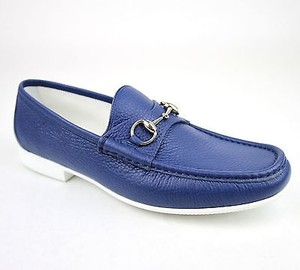 Gucci Mens Leather Horsebit Loafer Moccasin Blue 10 (us 11) 337060 4232