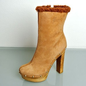 Gucci Joplin Suede Shearling Brown Boots