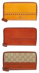 Gucci Gucci Laidback Craft Leathergg Canvas Zip Around Clutch Wallet 338580