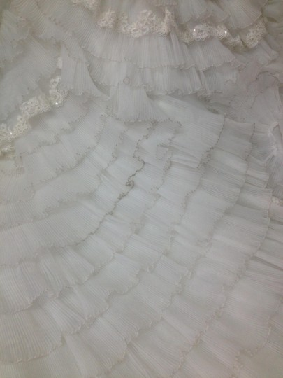 White Lace Organza Polyester Alison #ww1089 Formal Wedding Dress Size 10 (M)