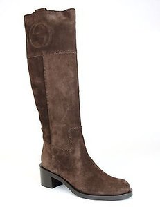 Gucci Suede Interlocking Knee Boot296094 Brown Boots