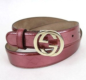 Gucci Gucci Pink Patent Leather Belt Interlocking G Buckle 114874 6414