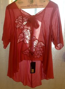 Audrey Ann Hi Lo Sheer Lace Top Pink