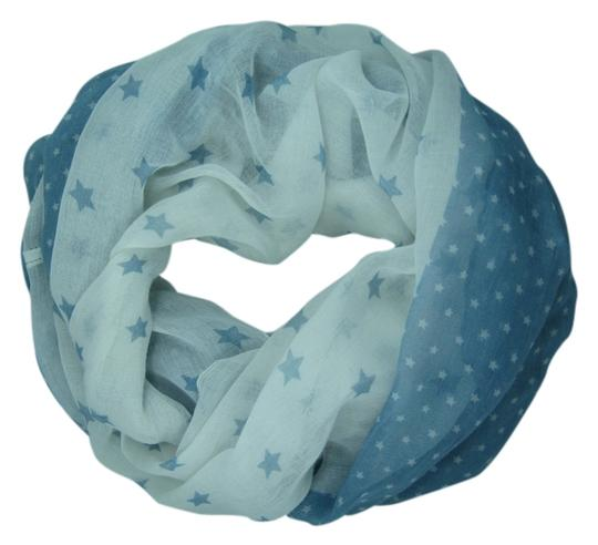 Unknown Lightweight Blue and White Star Infinity Scarf