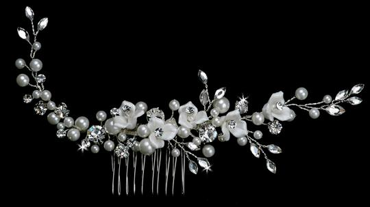Ceramic Flowers Pearls And Austrian Crystals Bridal Comb