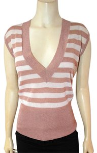 bebe Knit Size Small Striped Stretch P1888 Top beige, white
