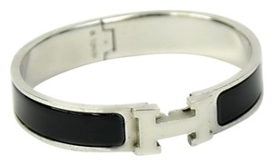 Hermès Authentic Hermes Clic Clac H Black Enamel & Silver Plated PM Bangle Bracelet
