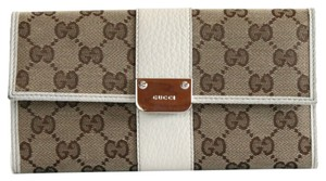 Gucci *OUT OF STOCK* Auth GUCCI GG Pattern Long Wallet GG Canvas x Leather 233028 - 33294