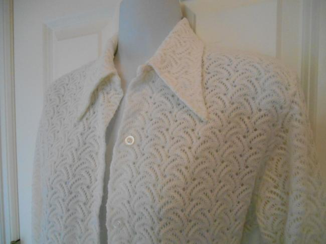 Miss Holly Vintage Sweater Button Up Festival 70s 60s Knit Classic 1970s Funky High Fashion Fun Lined Top White
