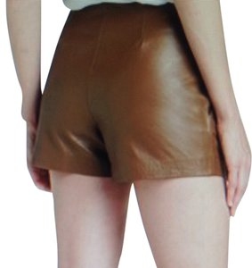 Trina Turk Leather Lambskin Pockets Tan Dress Shorts Camoflague