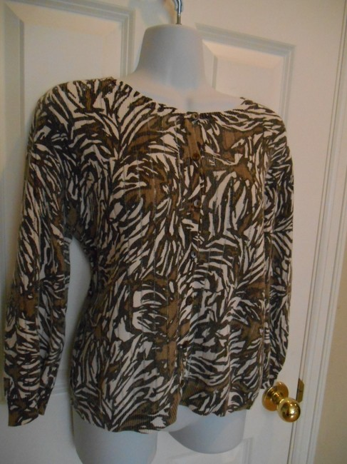 Chico's Jungle 2 Size 2 10 12 Medium Linen Linen Blend Print Jungle Print Ferns Cardigan Button Up Summer Tiop Shirt Work Sweater