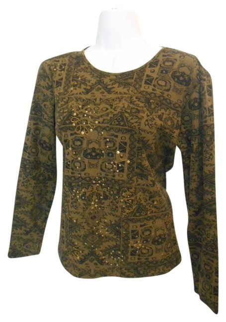 Preload https://item5.tradesy.com/images/chico-s-olive-green-with-black-tribal-embellished-all-cotton-long-sleeve-t-shirt-0-womens-small-tee--935014-0-0.jpg?width=400&height=650