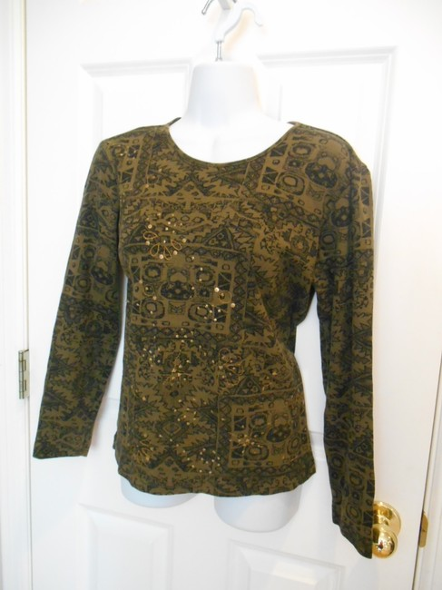 Chico's T-shirt 0 4 Small Size 0 #0 #small S Sm Tribal Ethic Cotton T Shirt Olive Green with black