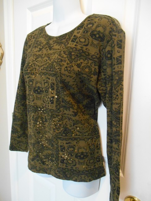Chico's 0 4 Small Size 0 # #0 #small S Sm Tribal Ethic Cotton T Shirt Olive Green with black